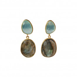Doble Drop Celeste Aguacalcite Earrings