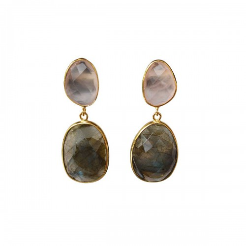 Boucles d'Oreille Doubles Celine Quartz Rose